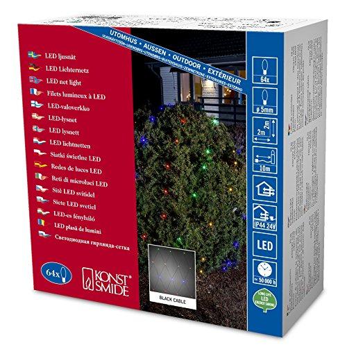 Konstsmide 3749-500 Filet Lumineux Extérieur 64 LEDs Multicolore Câble Noir