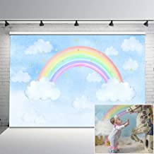 Mehofoto Pastel Rainbow Backdrop Clouds Starry Backdrops 7x5 Gold Stars Blue Sky Vinyl Background for Newborn Baby Photo Studio Props