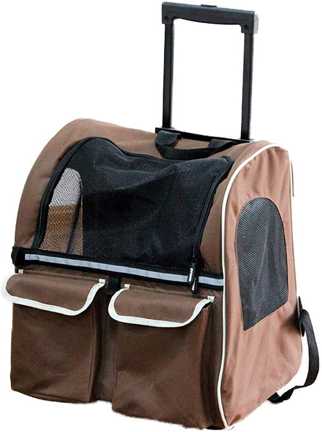 Pet Carrier Seat Pet Bag, Brown Dog Out Portable Travel Bag Cat Backpack Trolley Case 43  30  50CM (color   Brown) Pet Carrier Crate