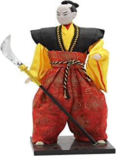 Perfeclan 12inch Japanese Samurai Doll Male Figures Figurine, Beautiful Design, Vintage Style, Red & Yellow & Black