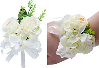 Florashop Satin Flower Corsage and Boutonniere Pack Wedding Bridal Bridesmaid Wrist Corsage Band Men's Groom Bridegroom Boutonniere for Wedding Prom Party Homecoming (Ivory)