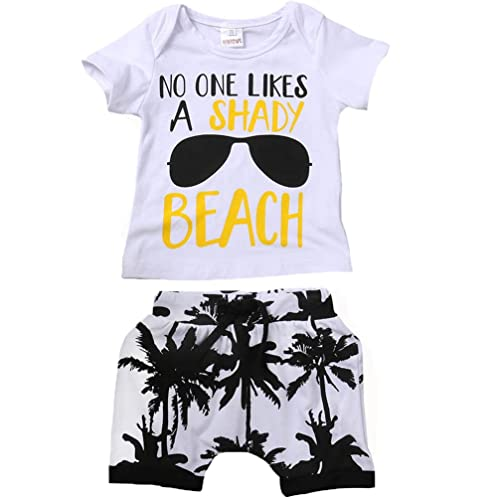 a15b741344 Kids Toddler Baby Boys Girls No ONE Likes A Shady Beach Glasses Shirt and  Palm Shorts