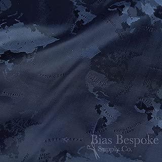 MONDO 100% Cupro Bemberg Jacquard World Map Lining, Navy Blue, Made in Italy