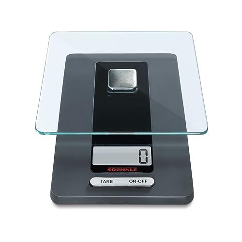 Soehnle Fiesta - Báscula de cocina de vidrio, 20.3x11.4x2.9 cm