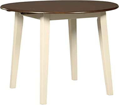 Signature Design by Ashley Woodanville Dining Room Drop Leaf Table, Cream/Brown
