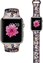 LAACO Floral Bands Compatible with iWatch 38mm 40mm 42mm 44mm, Soft Silicone Fadeless Pattern Printed Replacement Strap Bands, Compatible with iWatch Series 5/4/3/2/1, M/L - Blue Abstract