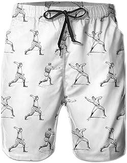 Lixinli Men's Vintage Baseball Players Quick Dry Beach Shorts