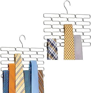 mDesign Juego de 2 corbateros – Elegante percha organizadora con espacio para 23 corbatas – Práctico organizador de acceso...