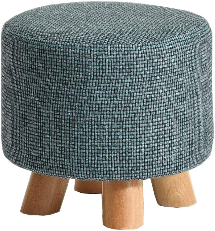 Solid Wood Stool Fashion Small Round Stool Creative Sofa Stool Fabric Stool Home Coffee Table Stool Change shoes Stool bluee