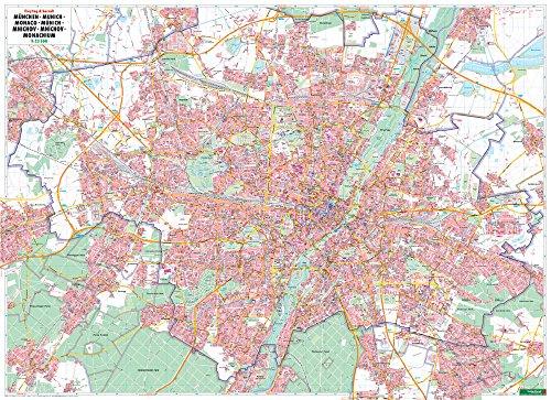 München, Stadtplan 1:22.500, Poster, Plano in Rolle (freytag & berndt Poster + Markiertafeln)