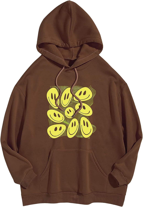 SOLY HUX Women's Cartoon Print Long Sleeve Pocket Hoodie Top Sweatshirt
