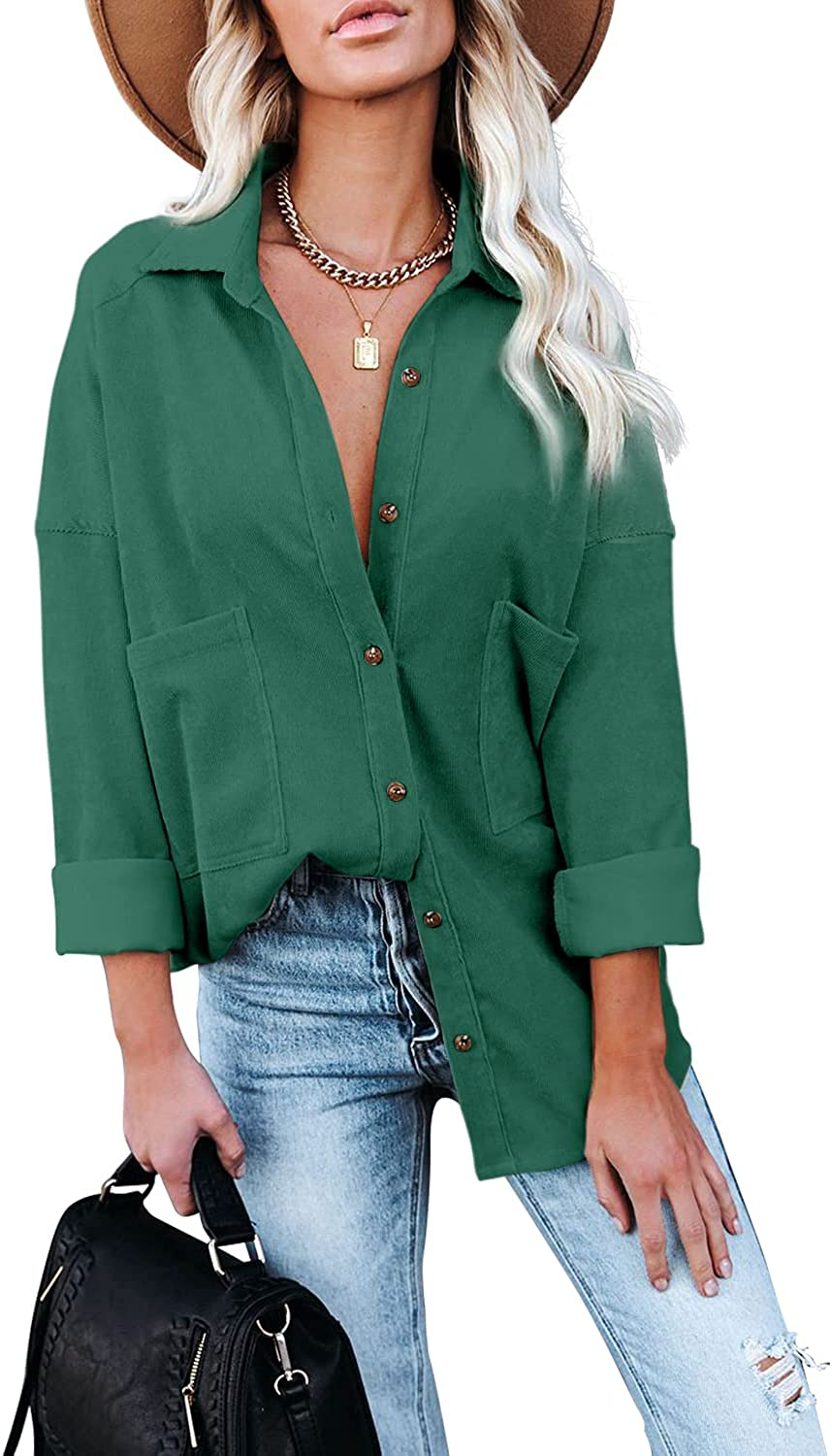 Davenil Women Corduroy Shirts Jacket with Two Pocket Casual Button Down Blouses Long Sleeve Tops