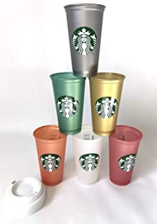 Starbucks Reusable Cup Collection Pack Of 6 W/Lids Holiday 2018