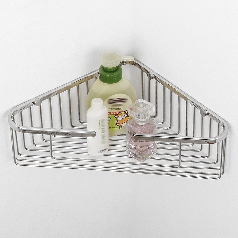RFJJAL Stainless Steel Basket Bathroom Shelf,Silver Triangular Corner Storage Rack, 250  250  88mm