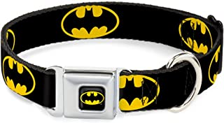 Dog Collar Seatbelt Buckle Batman Shield Black Yellow 15 to 26 Inches 1.0 Inch Wide