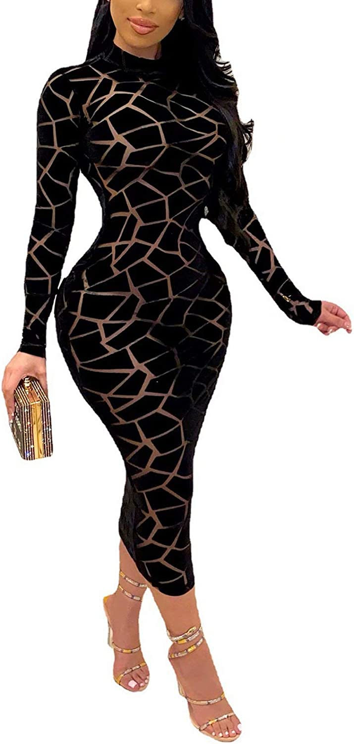 Women Sexy Mesh See Through Vintage Geometric Printed Tops Cover Up Sheer Bodycon Mini/Mid Dress Outfits Clubwear Party