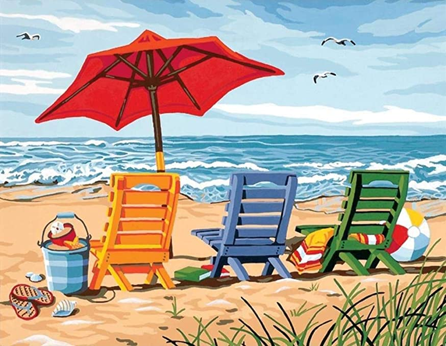 Apomelo 12×16 inches Diamond Painting Summer Holiday Full Paint with Diamonds Embroidery Dotz Kit Art Crafts for Decor, Beach Chair