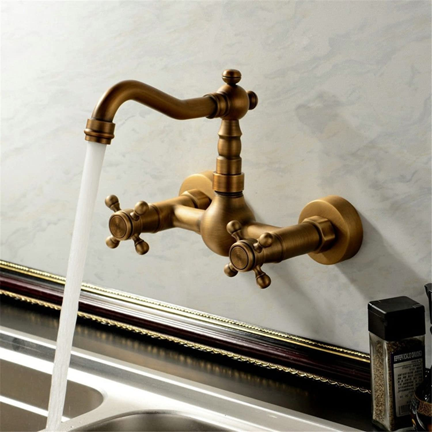 Gyps Faucet Waterfall for Cold and Hot Water Tap Bathroom Kitchen Tap 2 Hole in Wall Tap Water and Cold Water Antique Wall Brass Sink C, De