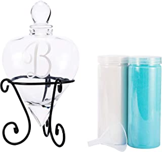 AF ANDREW FAMILY Monogrammed Etched Wedding Glass Heart Shaped Unity Set with Metal Stand Initial B, White& Blue Sand Included