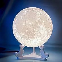 Lâmpada de lua, Balkwan 12 cm impressão 3D luz de lua usa design regulável e controle de toque, presentes de aniversário r...