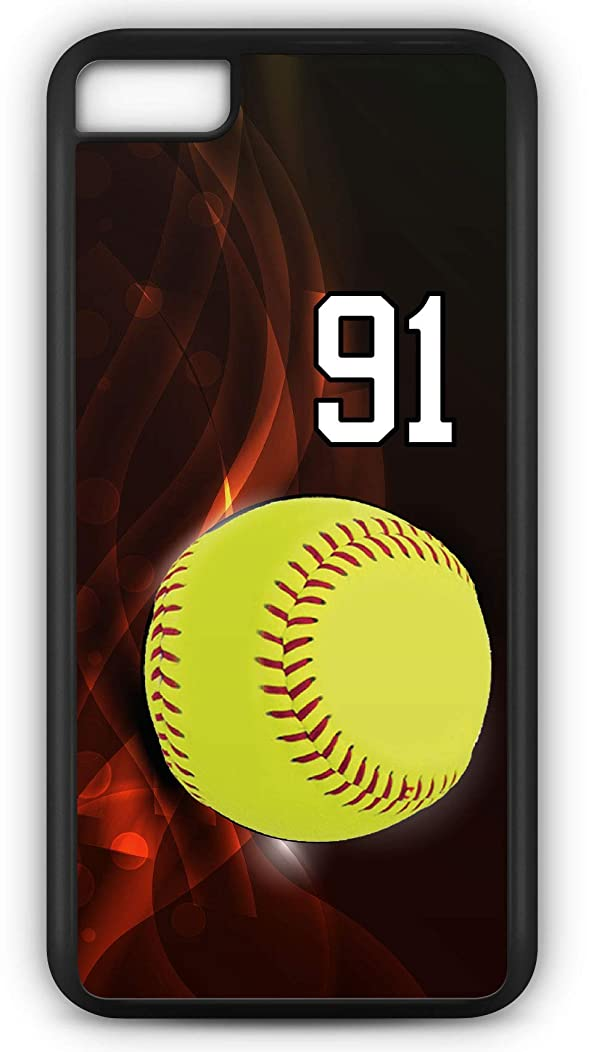 iPhone 6 Plus 6+ Case Softball S107Z Choice of Any Personalized Name or Number Tough Phone Case by TYD Designs in Black Plastic and Black Rubber with Team Jersey Number 91