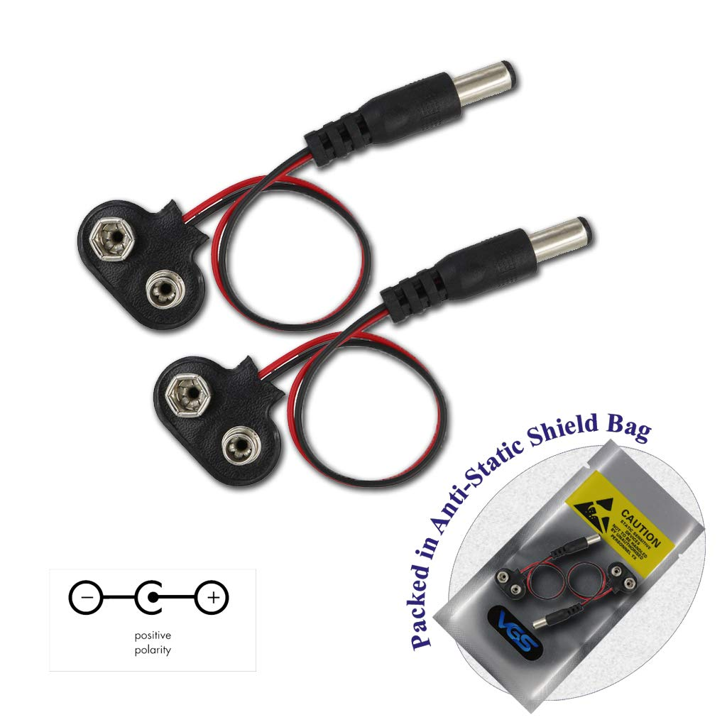 service 2pcs 9V DC 2021 Battery Power Cable Clip f Jack Connector Barrel Plug
