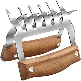 Bear Claws Meat Shredder, Pulled Pork Shredder Claws, 3 In 1 Metal Meat Claws,Stainless Steel Forks with Wooden Handle & Bottle Opener & Blades for Shredding, Pulling, Handing Pork, Turkey & Chicken