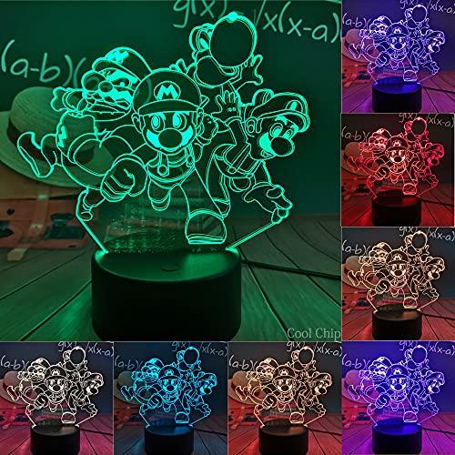luz de noche Lámpara de mesa de la serie Mario Super Mario Bros Luz de noche de noche LED RGB 7 colores USB Game Lovers Decoración de la habitación de los niños Cumpleaños para niños Regalo