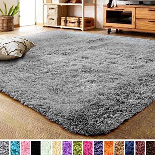 LOCHAS Ultra Soft Indoor Area Rug Shaggy Bedroom Living Room Carpets for Kids Nursery Room, 5.3 x 7.5 Feet Grey