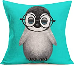 Asminifor Funny Lovely Animal Penguin Baby Wearing Glasses Decorative Cotton Linen Square Throw Pillow Case Cushion Cover 18 x 18 inches (Penguin)