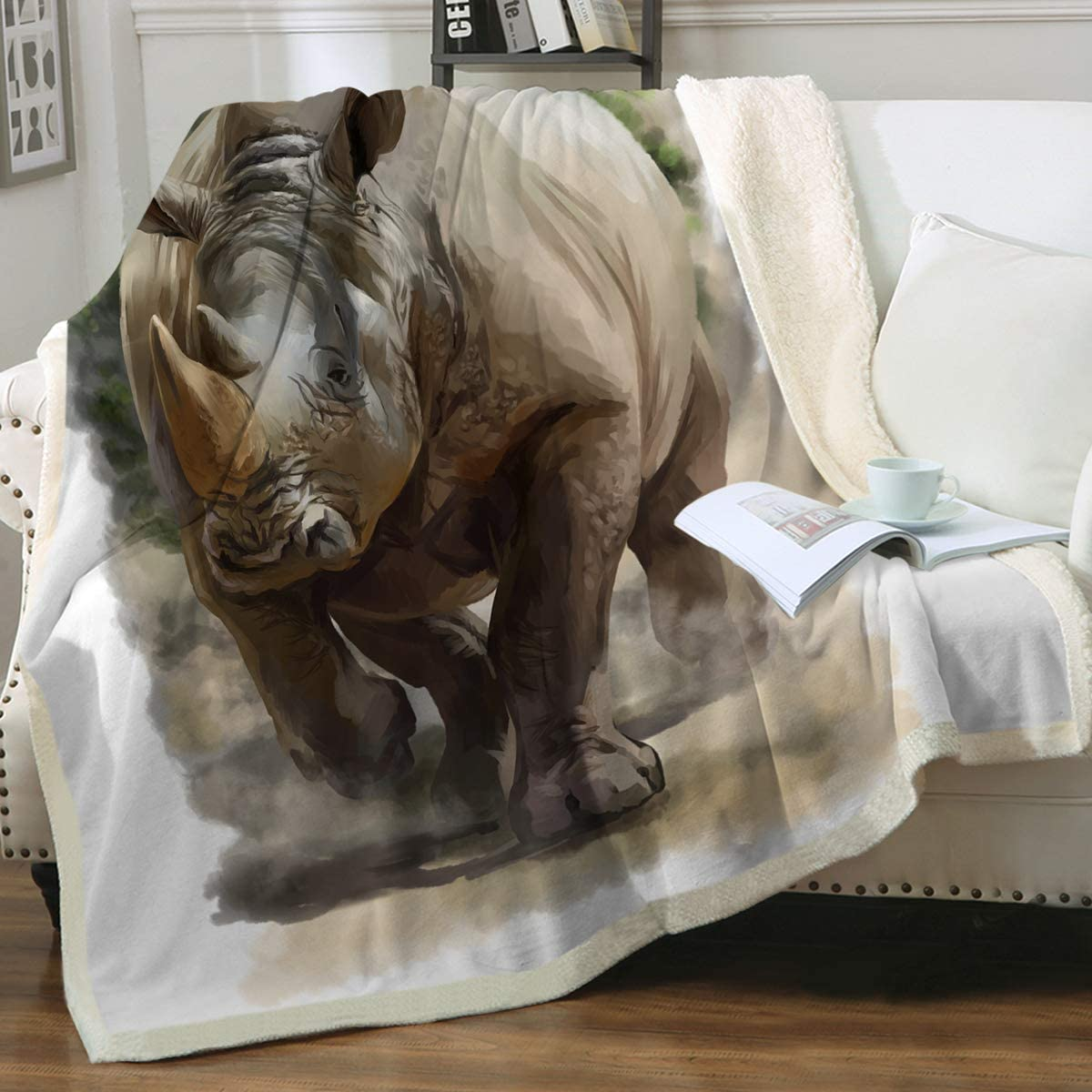 Sleepwish Rhino Same day shipping New product Reversible Throw Blanket Sofa for Couch Rhin Bed