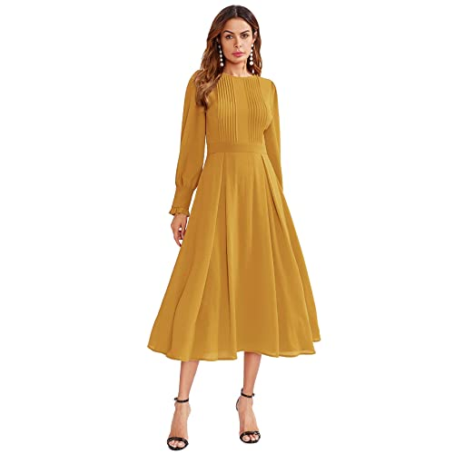dccfb10a8ce Milumia Women s Elegant Frilled Long Sleeve Pleated Fit   Flare Dress