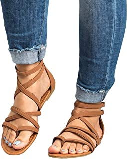 Best Woman Shoes On Sale Casual!melupa Ladies Fashion Casual Rome Solid Open Toe Beach Sandals Zip Flat With Shoes
