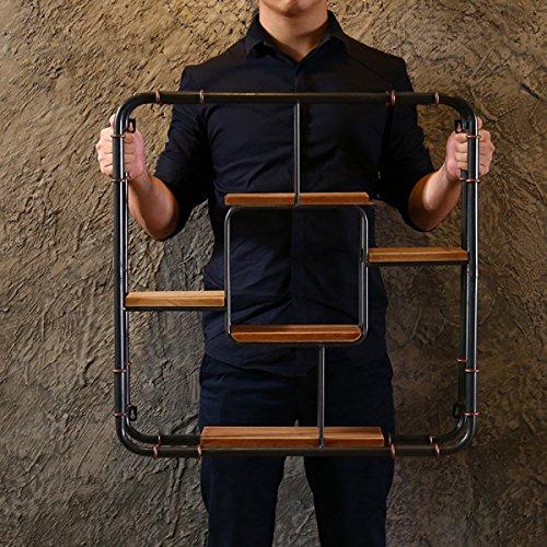 Estante de estilo americano Loft Estante de almacenamiento de hierro forjado montado en la pared Estante de exhibición de la decoración de la vendimia Estante de exhibición creativo de la tienda de ca