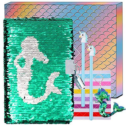 Cuaderno Secreto de Sirena con Lentejuelas - Diario Reversible Lindo de Lentejuelas, Diario con Cerradura con Cerradura y Regalo Clave para Niña, Papel de Oficina de la Escuela Libreta de Notas A5