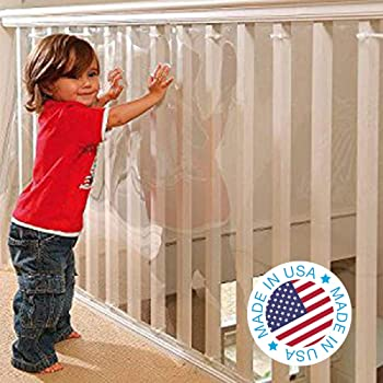 Kidkusion Indoor/Outdoor Banister Guard, Clear, 15'