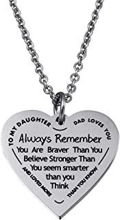 Haoflower Daughter Heart Pendant Necklace You Are Braver Than You Believe Engraved Motivational Message Stainless Steel Jewelry Gifts from Mom Dad