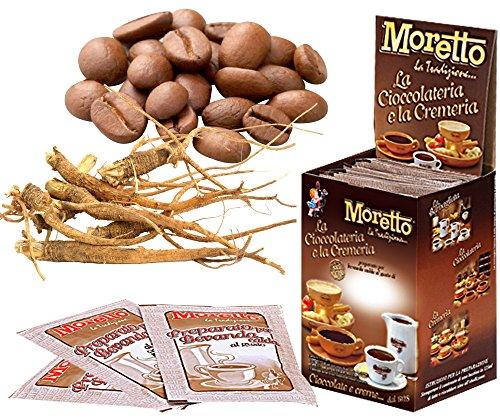 Cioccolata calda in tazza - MORETTO - gusto CIOCCOLATO e CAFFE' con GINSENG - 1 scatola con 12 bustine