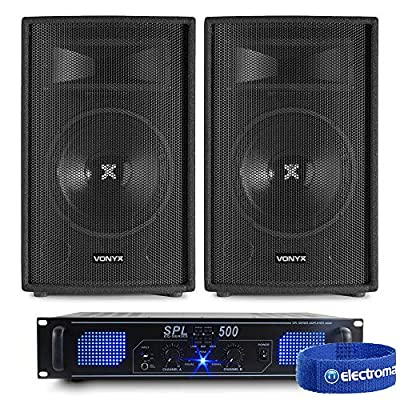 "2x Skytec 10"" Speakers + SPL500 Amplifier + Cables 500W"