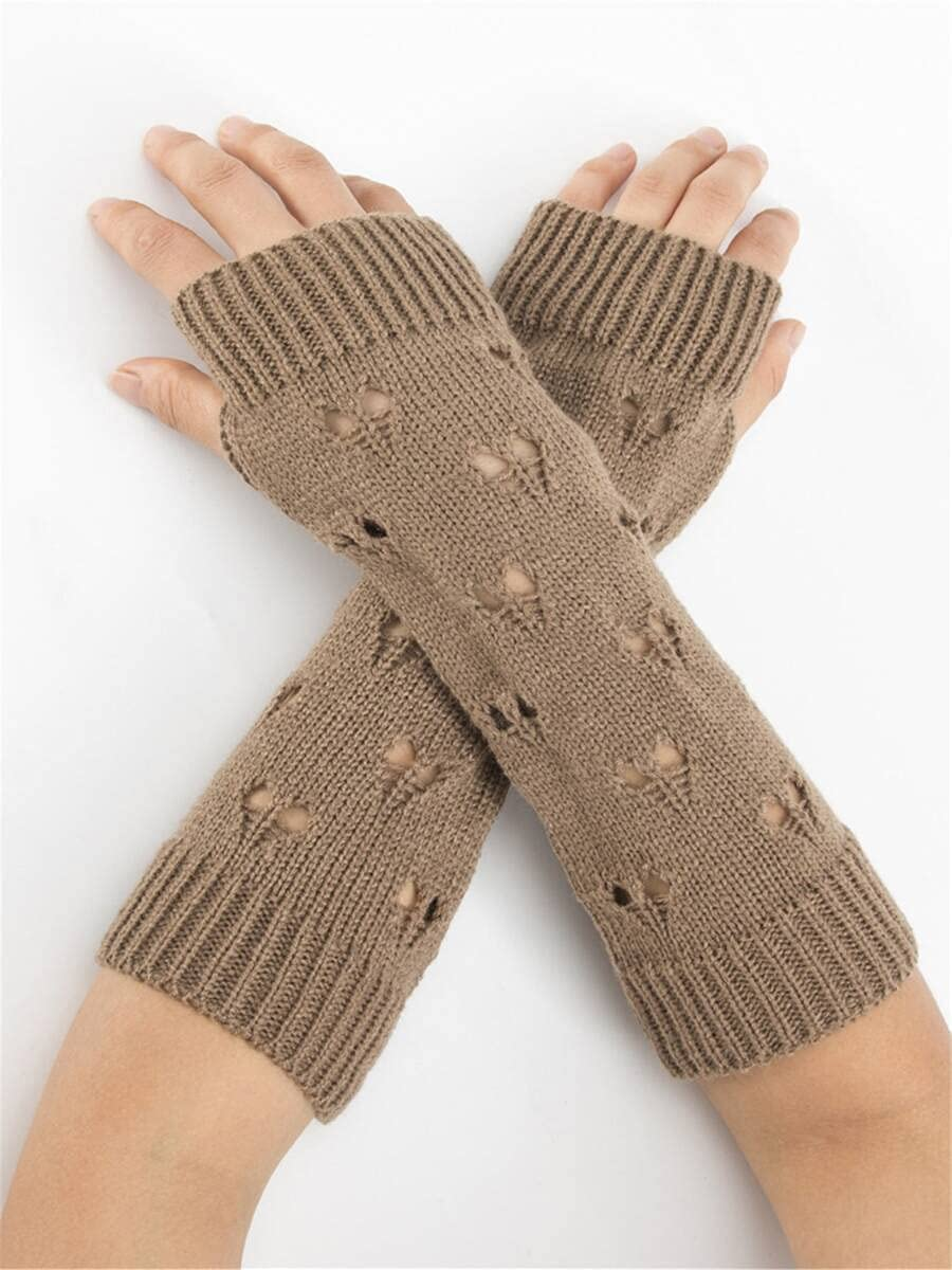 ZZTT Autumn and Winter Gloves Hollow Out Heart Fingerless Gloves Warm and Comfortable Gloves for Men or Momen (Color : Khaki, Size : One-Size)