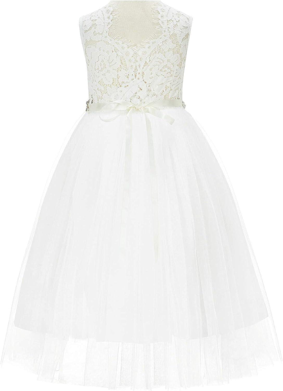 Scalloped V-Back Lace A-Line Junior Flower Girl Dresses Ceremonial Gown 207