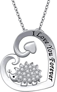 925 Sterling Silver Cute Animal I Love You Forever CZ Hedgehog Peadant Necklace Gift for Women Girls,18 inch