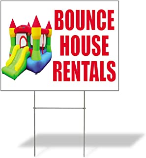 Bounce House Rentals #1 Outdoor Lawn Decoration Corrugated Plastic Yard Sign - 12inx18in, Free Stakes