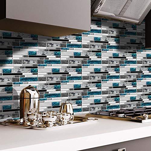 JDV Azulejos de mosaico adhesivos para cuarto de baño, cocina, 3D, adhesivo de papel pintado autoadhesivo (9 unidades)