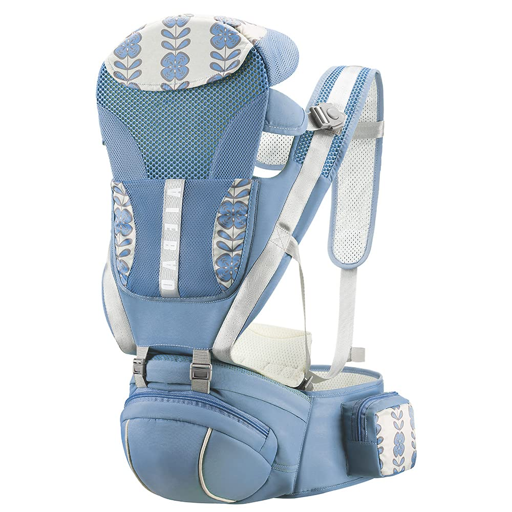 Ergonomic Baby Carrier,Comfortable and Safe Backpack Style Sling for Holding Babies,Hip Seat and Cool Air Mesh,Adjustable 4-in-1 Position,Newborn to Toddler with Lumbar Support Child 7-33 lbs Blue