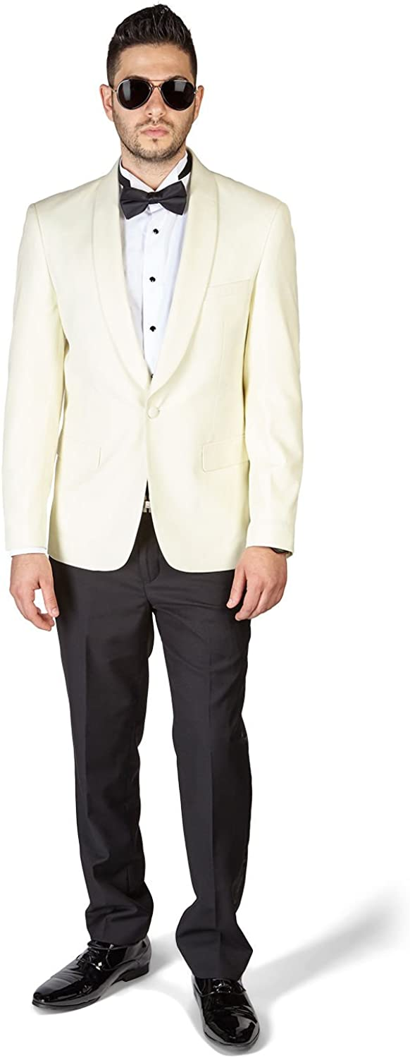 Slim Fit 1 Button Shawl Lapel Ivory Tuxedo with Black Pants by AZAR 4030-A5