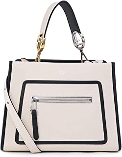 Fendi Shopping Bag Runaway Calf Leather Camelia Cream Black Trim Tote 8BH343