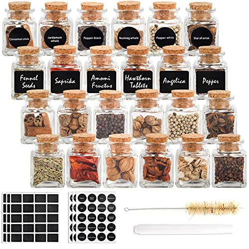 CUCUMI 24pcs 2oz Glass Spice Bottles with Cork Small Spice Jars, Mini Bottles with Cork Lids, Herb Bottles Small Favor Jars Cute Jars with 120pcs Stickers, for Home Kitchen Party DIY Craft