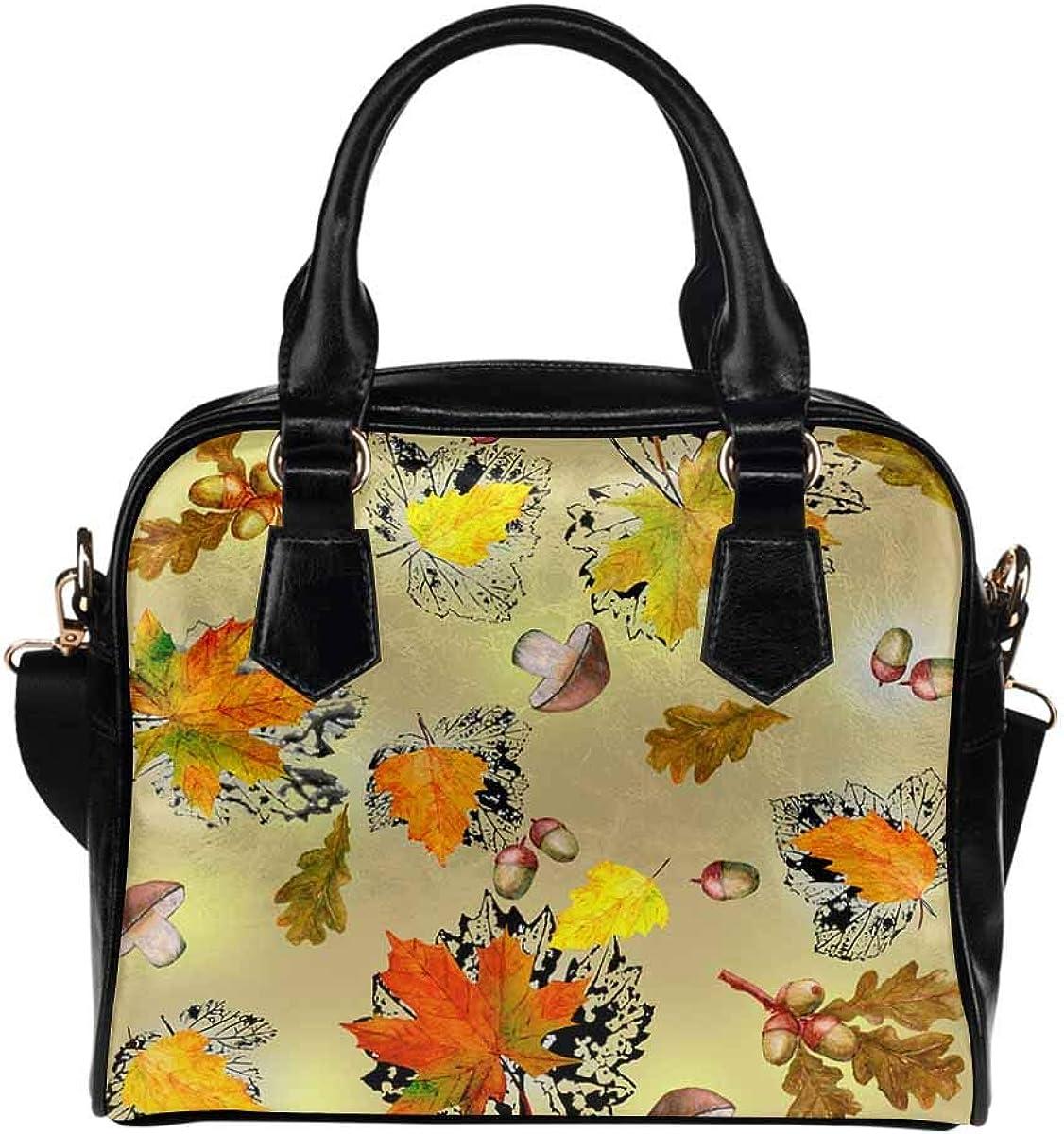 INTERESTPRINT Autumn Maple Leaf, Acorn Crossbody Purse Bags for Women Shoulder Bag