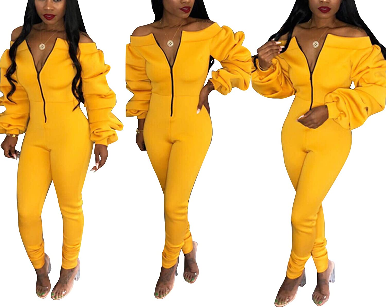 Ophestin Women Sexy Zipper Fall Rompers Jumpsuits Sexy Jumpsuits Rompers Club Outfits Yellow XXXL